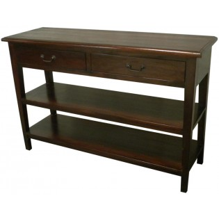 2-shelves Indonesian mahogany console