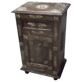 Indian bedside table with brass inserts