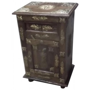 Indian nightstand with brass inserts