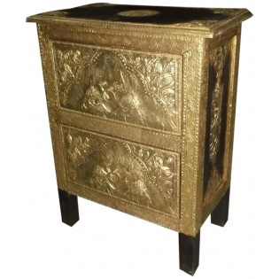 Bedside table with brass inserts from India