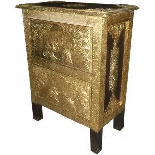 Ethnic bedside table with brass inserts