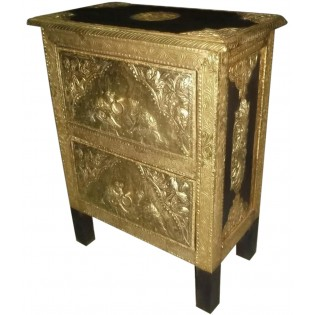 Ethnic nightstand with brass inserts