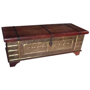 Indian chest with brass inserts