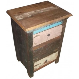 colored recovered wooden nightstand from India