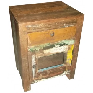 1-drawer and 1-door bedside table in colored recovered wood from India