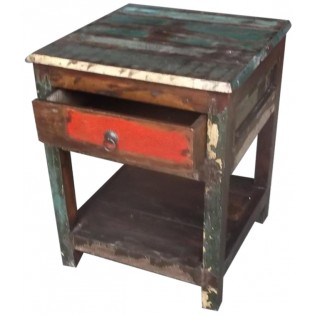 Reclaimed coloured-wood bedside table