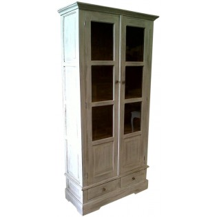Shabby chic white pickled glass cabinet