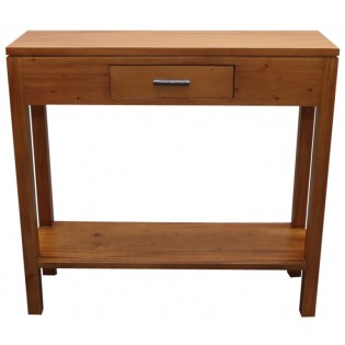 Light mahogany console with a small drawer