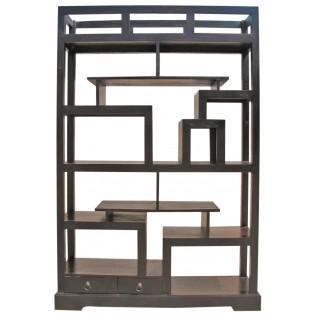 Open ethnic bookcase in dark mahogany