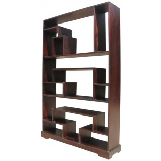 Open ethnic bookcase in dark mahogany from Indonesia