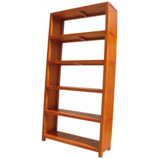 Open ethnic bookcase in light mahogany and bamboo from Indonesia