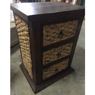 3-drawers bedside table in water hyacinth and mahogany