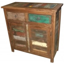 Indian cupboard with colored recovered wood