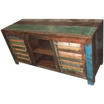 TV cabinet with colored recovered wood