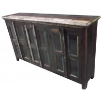 Indian sideboard with glazed doors in colored recovered wood