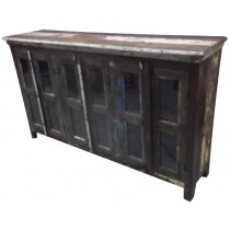 Indian cupboard with glazed doors in colored recycled wood