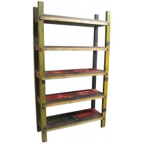 Open bookcase with reclaimed wood
