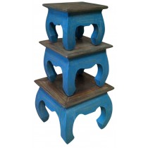 Shabby chic blue pickled side table (small)