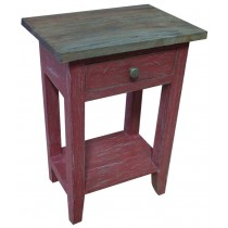 Shabby chic red pickled bedside table