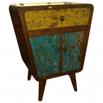 Bedside table in vintage style in reclaimed teakwood