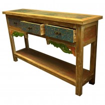 Console piece of furniture multicolored with recycled wood