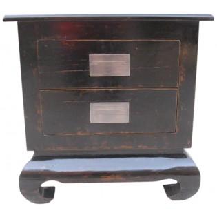 Table de chevet noire avec 2 tiroirs