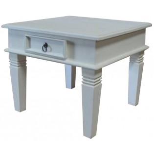 Table de chevet blanc en acajou