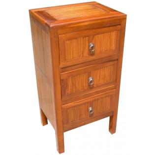Table de chevet haute avec 3 tiroirs en teck et bambou