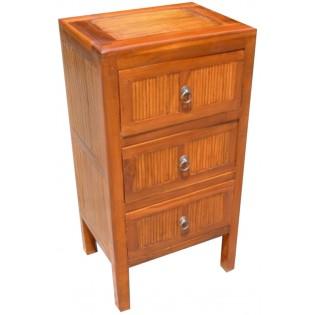 Table de chevet avec 3 tiroirs en teck et bambou