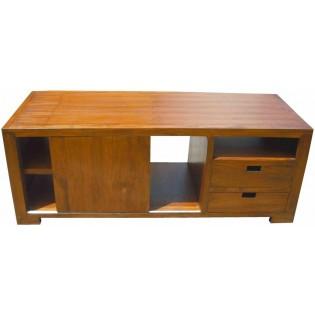 Meuble TV bas avec porte et tiroirs