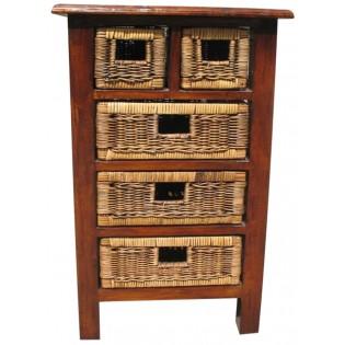 Petit meuble avec 5 mini-tiroirs en acajou et rotin