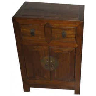 Table de chevet avec tiroirs et portes