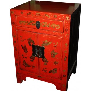 Table de chevet rouge decoree