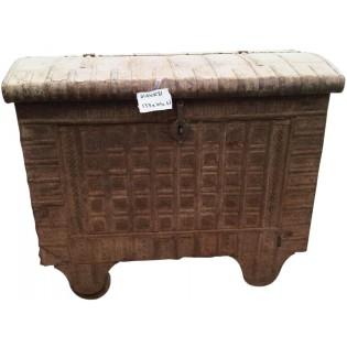 Antique coffre indienne en bois et fer
