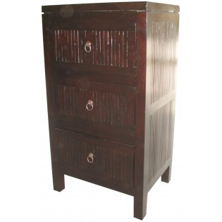 Table de chevet avec 3 tiroirs en acajou et bambou fonce