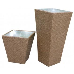 Vase porte plantes plein air grand de haute qualite en aluminium et recouvert de polyrattan