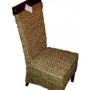 Chaise en jacinthe d eau avec acajou