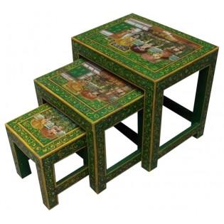 Table basse indonesienne peinte (la grande dans l image)