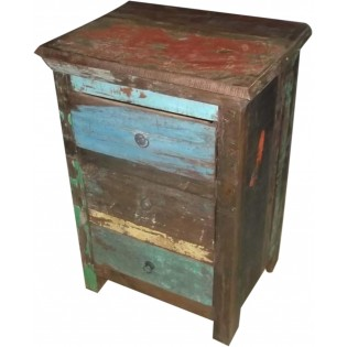 Table de chevet pour tasses en bois recupere et colore de l Inde