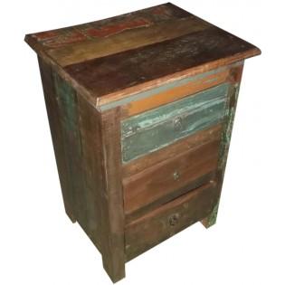 Table de chevet en bois recycle et colore indien