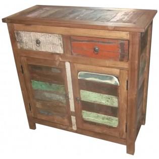 Buffet en bois recycle et colore indien