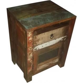 Chevet en bois recupere et colore de provenance indienne avec 1 tiroir