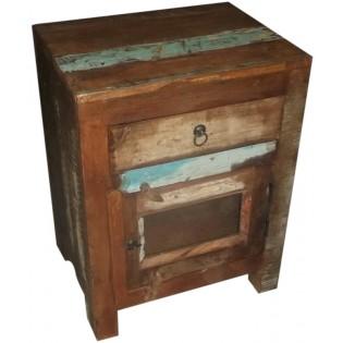 Table de chevet en bois recycle colore de l Inde equipee avec 1 tiroir