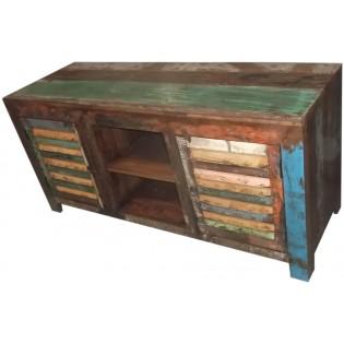 meuble tv indien en bois recupere et colore 153x72x52 etnicart. Black Bedroom Furniture Sets. Home Design Ideas