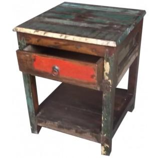 table de chevet en bois recycle et colore