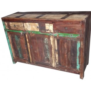 Buffet en bois recycle  et colore de l Inde