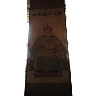 Peinture chinoise ancienne sur  toile avec ecriture