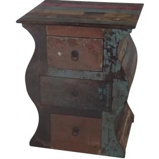 Table de chevet en bois recycle d Inde