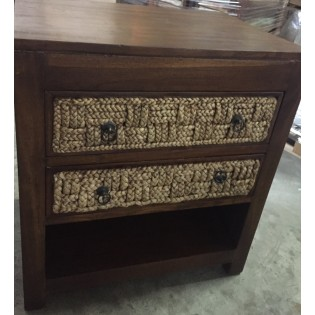 Table de chevet en jacinthe d eau et teck avec etageres et 2 tiroirs