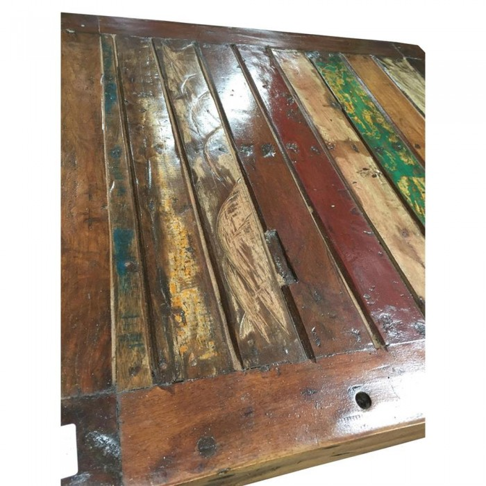 Table basse carree en bois recycle 80x80x40 etnicart for Meuble 80x80x40
